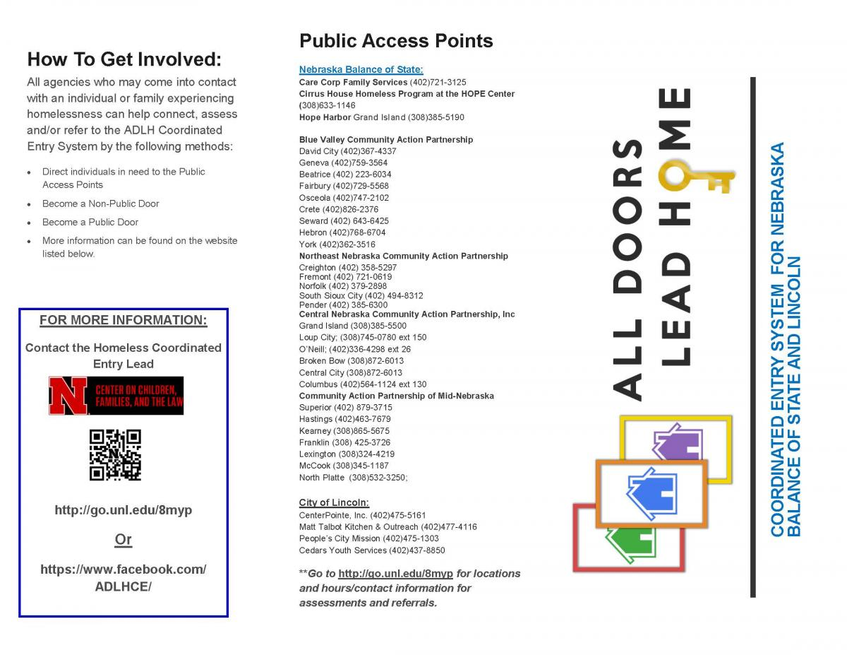 Picture of brochure talking about coordinated entry and public access points.